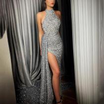 Sexy Irregular Hem Silver Halter Evening Dress