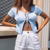 Summer Women Bandage Crop Tops Sexy Top Ribbed knitting Split T-shirt Tops  Solid Color Slim Knitted Elastic Cardigan Tank y2k