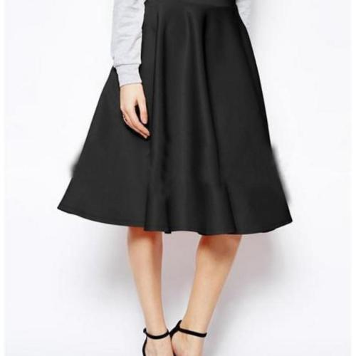 Fashion Women Skirt High Waist All-match Female Casual Solid Loose Knee-Length Skirts Rk