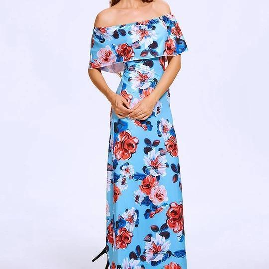 Holiday Style Flower And Leaf Sleeveless Maxi Dress