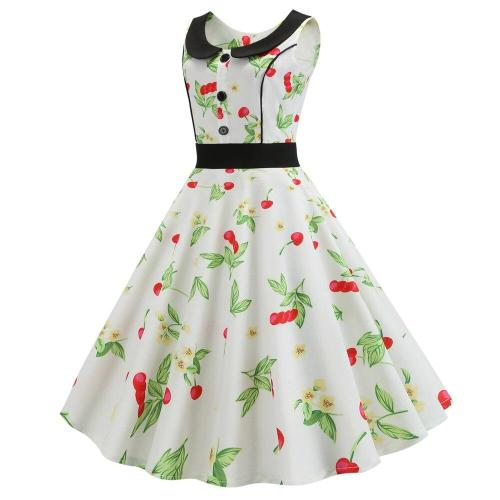 Cherry Printed Summer Dresses 2020 Fashion Peter pan Collar Robes Vintage Pin Up Vestidos Floral Retro 50S 60S Rockabilly Dress