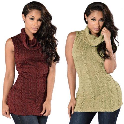 Fashion Sexy High-Neck Sleeveless Sweater