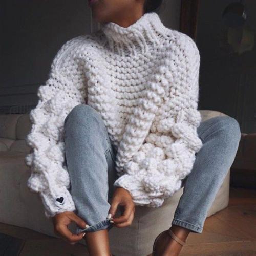 Fashion High Neck Coarse Wool Knit Sweater