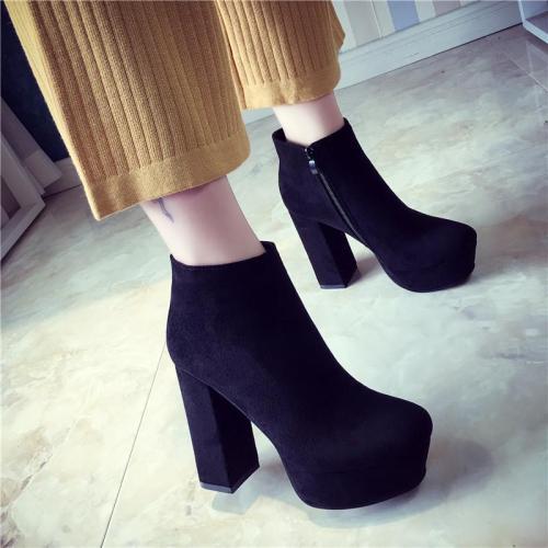 Side Zipper Pointed Toe Platform High Chunky Heels Short Boots