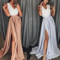 Solid Color Split Evening Dress