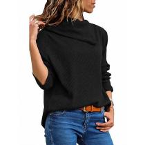 Fashion Loose   Asymmetric Collar Long Sleeve Knitted Hoodie Blouse