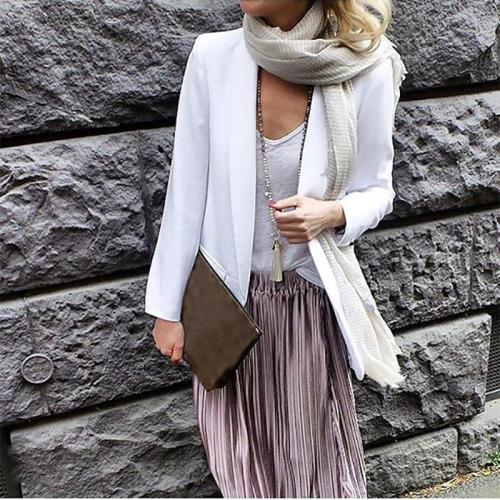 Brief Pure Color Long Sleeve Blazer