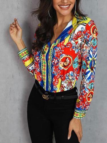 Fashion Turndown Collar Printed Colour Shirt