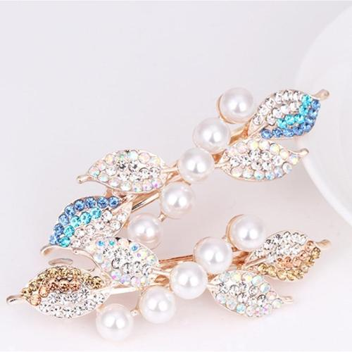 Chic Fashion Metal Leaf Shape Hair Clip Barrettes Rhinestone Crystal Pearl Hairpin Barrette Hair Claws Women Hair Styling Tool