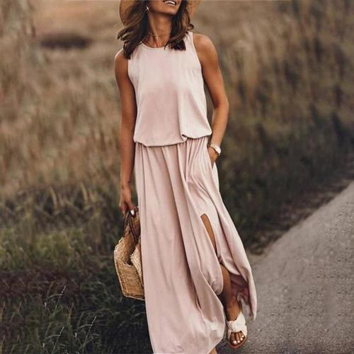 Plain Round Neck Sleeveless Flowing Maxi Dress