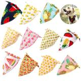 Fruit Print Pet Dog Bandana Small Dog Cat Scarf Adjustable Cotton Dog Puppy Bandanas Bibs Summer Pet Dog  Grooming Accessories