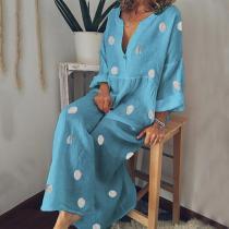 Casual V Neck Long Sleeve Pleated Polka Dot Splicing Casual Maxi Dress