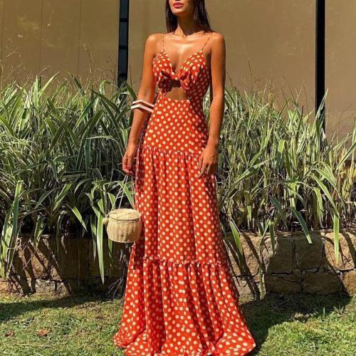 Fashion V Neck Off-Shoulder Bare Back Pleated Splicing Polka Dot Dress