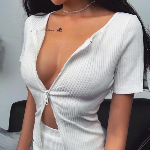Sexy T Shirt Women Knit Ribbed Crop Top