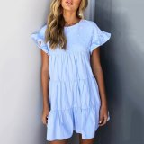 Stylish Flounce Short Sleeves Mini Dress