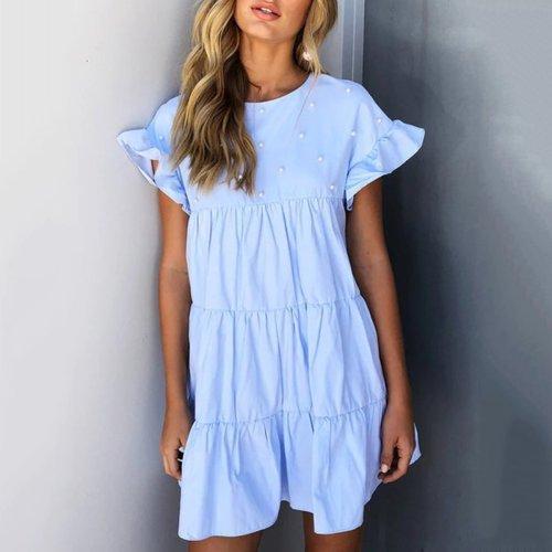 Stylish Flounce Short Sleeves Mini Dress