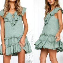 Sexy V Neck Short Sleeves Mini Dress