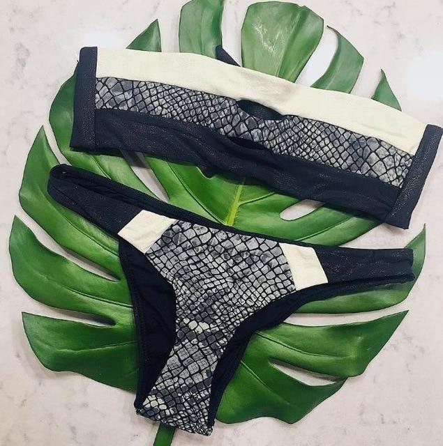 Snake Skin Print Sexy Swimsuit Set
