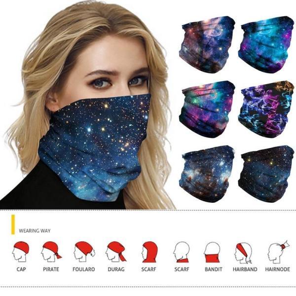 Hot Sale Galaxy Print Face Scarf Balaclava Scarf Neck Warmer Neck Gaiter Half Face Cover Head Bandanas Shield Headband Headwear