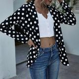 Brand Autumn Women Blazers Fashion Office Lady Thin Polka Dot Print Jacket Long Sleeve Button Slim Suit Female Business Coat