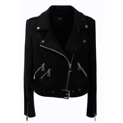 Hasp Zippers Lapel Oblique Zipper Slim Women Short Punk Jacket with Belt