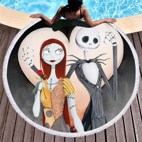 Swimming Towel Sugar Skull Print Microfiber Beach Towel For Adult Yoga Mat Tassel Large Round Towel 150cm Tapestry Home Decor