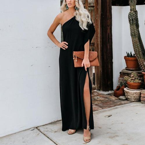 Casual Off-Shoulder Slit Pure Colour Ruffled Loose Dress