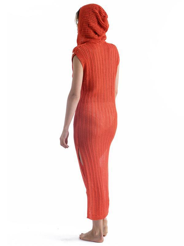 Sexy Sleeveless Split-side Cover-up Swimwear