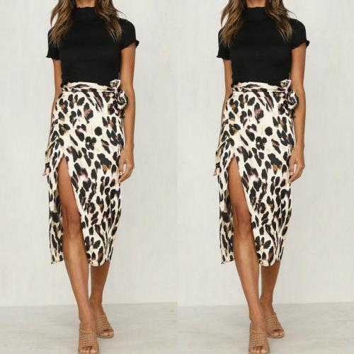 Leopard Print Skirts Women High Waist Midi Skirt Bow Tie 2019 Summer Ladies Sexy Split Wrap Skirt Beach