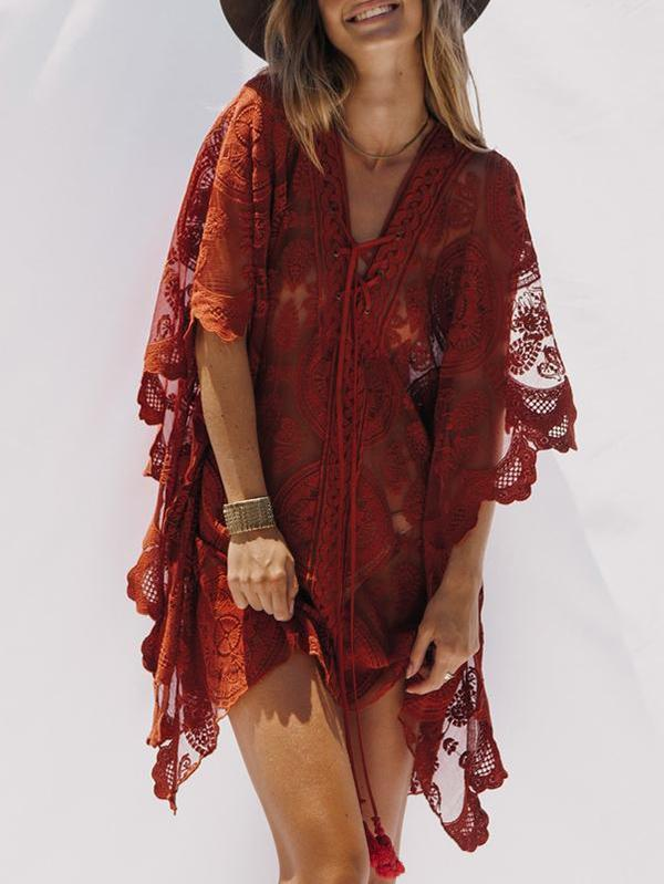 Sexy Red Lace Bandage Cover-up Mini Dress