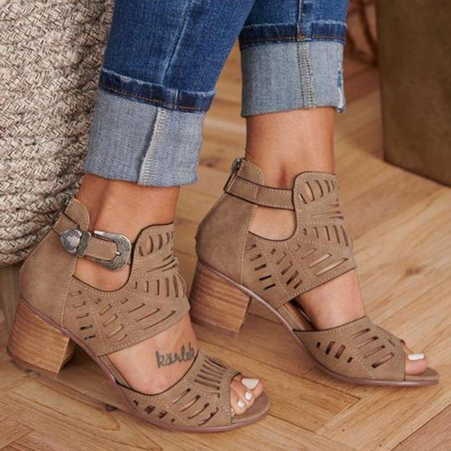 Women Artificial Leather Chunky Heel Adjustable Buckle Sandals