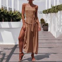 Commuting Belted Sleeveless Off-Shoulder Bare Back Pleated Dress