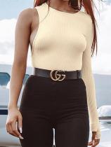 Round Neck Asymmetrical Long Sleeve Plain T-Shirts