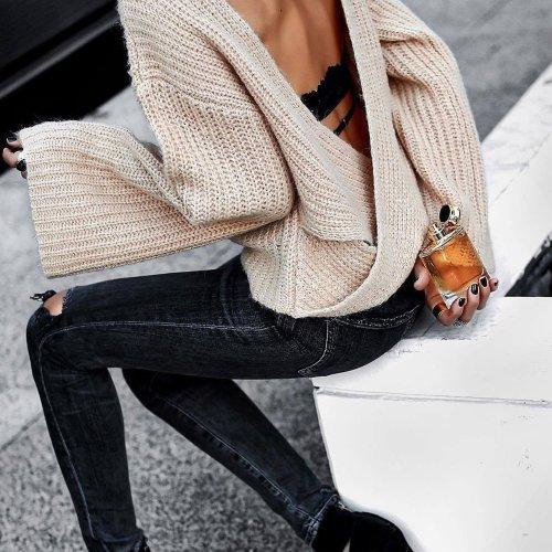 Lace Up Back Turtleneck Flare Sleeve Knit Sweater