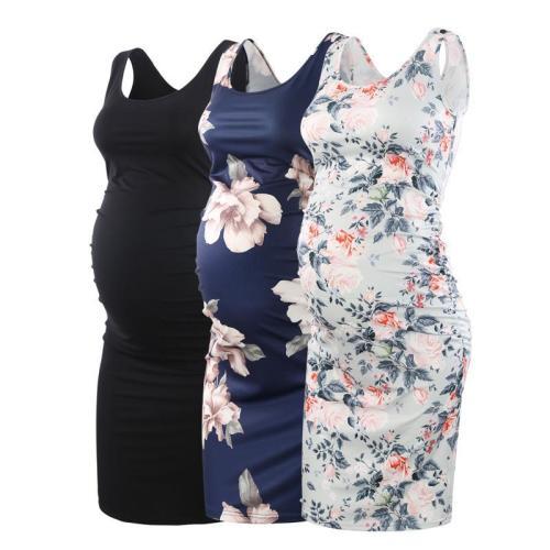 2020 Tank Maternity Dresses Sleeveless Pregnancy Clothes Casual Summer Dresses Pregnant Mama Knee-length Black Dress Wine Navy