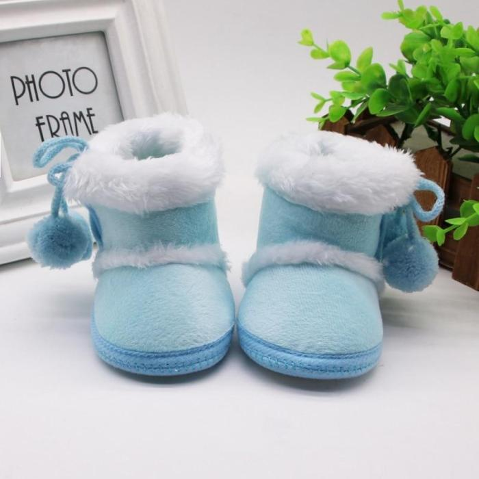 Warm Newborn Toddler Boots Winter First Walkers baby Girls Boys Shoes Soft Sole Fur Snow Booties for 0-18M