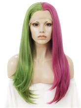 Long Half Green Half Medium Violet Red Synthetic Lace Front Wig