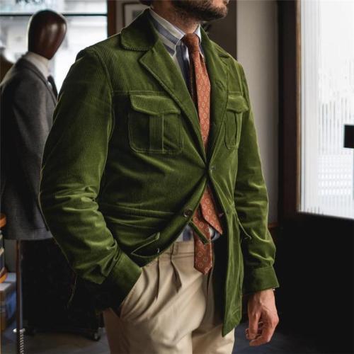 Men's fashion solid color lapel corduroy suit
