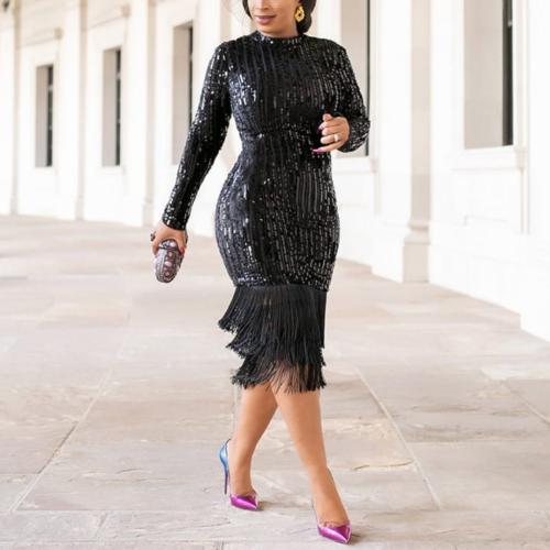 Fashion Tassel Sequin Dress