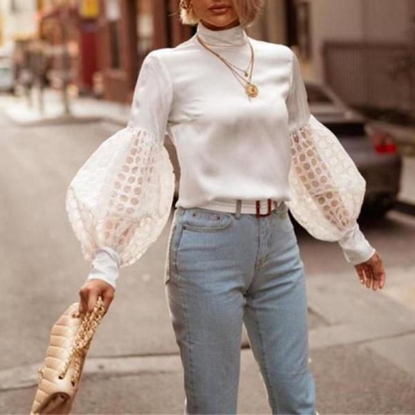 Women's fashion bubble sleeve high collar Blouse