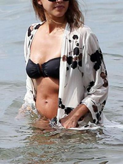Beach Vacation Floral-Printed Long Sleeve Mask Cover-ups