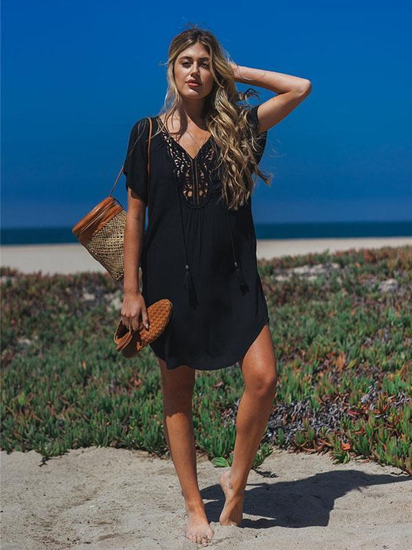 Lacy Solid Black Hollow Beach Cover-ups
