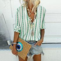 Casual V-neck Striped Loose Long-sleeved Shirt