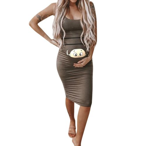 Summer New  Women Fashion Solid Color Sleeveless  Maternity Pregnant Daily Comfortable Midi Dresse
