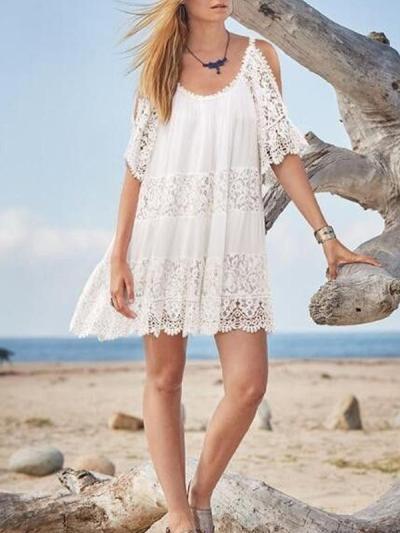 Lace Split-joint Cold-shoulder Mini Dress