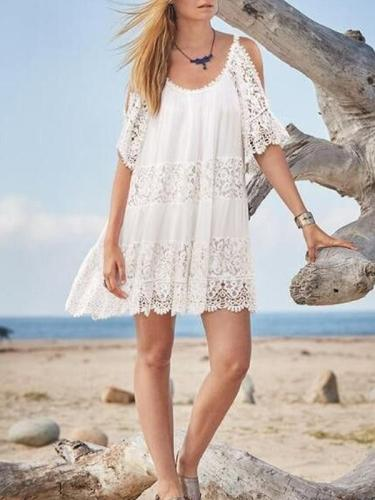 Lace Split-joint Cold-shoulder Mini Dress