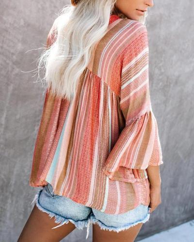 Oversized Ruffle Sleeve Striped Top