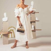 Women's Elegant One-Shoulder Solid Color Dress