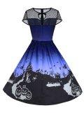 1950s Halloween Print Mesh Dress