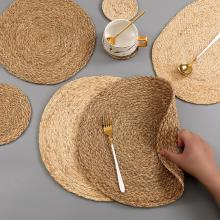 Handmade Weave Non-slip Placemat coaster Corn hull for table dinne Round Insulation pads Table Mats Pads Home Decor 0041